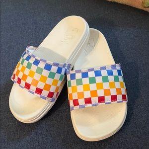 Kids vans checkerboard slip on sandals